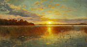 Famous Artists - Sunset over a Danish Fjord by Peder Mork Monsted