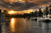 Barges Prints - Sunset over Amsterdam  Print by Rob Hawkins