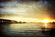Sunset Over Biloxi Bay Print by Joan McCool