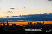 Red Sky Prints - Sunset over black and white city Print by Stuart Perkins