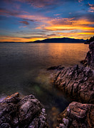 Vancouver Photo Prints - Sunset over Bowen Island Print by Alexis Birkill