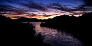 Desert Lake Photo Posters - Sunset over Desert Waters Poster by Anthony Citro