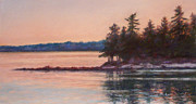 Calm Waters Pastels Prints - Sunset over Emerald Point Lake Sebago Maine    Print by Denise Horne-Kaplan