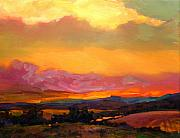 Vermont Paintings - Sunset Over Green Mountains by Mike Savlen