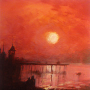 Bandstand Paintings - Sunset Over Herne Bay Pier by Paul Mitchell