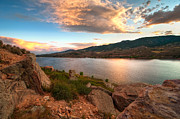 Horsetooth Reservoir Metal Prints - Sunset over Horsetooth Metal Print by Preston Broadfoot