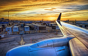 Plane Engine Photos - Sunset over IAH by Scott Norris
