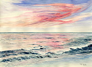Melly Terpening Paintings - Sunset Over Indian Ocean by Melly Terpening