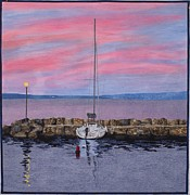 France Tapestries - Textiles Originals - Sunset Over Lac Leman by Lenore Crawford