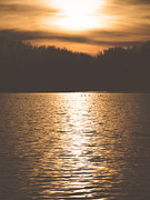 Sunset Scene Prints - Sunset over Lake Print by Wim Lanclus