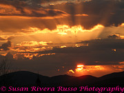 New England. Pyrography Prints - Sunset over Mt Mansfield Print by Susan Russo