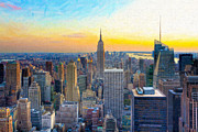 New York City Skyline Digital Art Posters - Sunset over new York City Poster by Mark E Tisdale