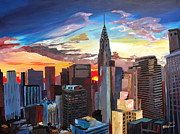 Midtown Painting Posters - Sunset over New York Midtown Manhattan Poster by M Bleichner