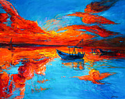 Acrylic Image Paintings - Sunset over ocean by Ivailo Nikolov