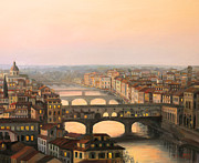 Skylines Paintings - Sunset over ponte Vecchio in Florence by Kiril Stanchev