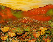 Snowy Night Paintings - Sunset Over Poppy Ridge by Wendy Wilkins
