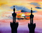 Tropical Sunset Painting Framed Prints - Sunset over Port Said Framed Print by Maria Barry