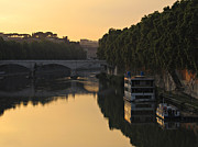 Tevere Prints - Sunset over river Tiber in Rome Print by Kiril Stanchev