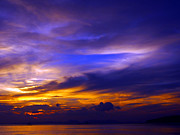 Sunset Over Sea Print by Justin Woodhouse