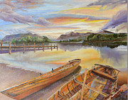 Ship Paintings - Sunset Over Serenity Lake by Mary Ellen Anderson