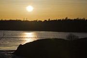 Roger Lewis Metal Prints - Sunset Over Silouetted Reversing Falls Metal Print by Roger Lewis