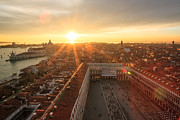 Looking Down Framed Prints - Sunset over St Marks square Venice Italy Framed Print by Matteo Colombo