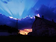 Farm House Mixed Media Posters - Sunset over the farm Poster by Todd and candice Dailey