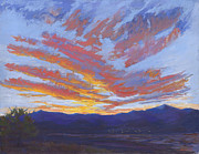 Santa Fe Pastels Originals - Sunset Over The Jemez by Mary Olivera