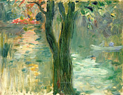 Calm Waters Posters - Sunset over the Lake Bois de Boulogne Poster by Berthe Morisot
