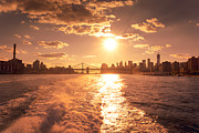 Manhattan Sunset Posters - Sunset over the New York City Skyline Poster by Vivienne Gucwa