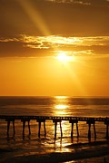 Panama City Beach Prints - Sunset over the Pier Print by Jennifer Blackstock Lee