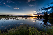 Sunset Over The River Print by Steven Reed