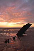 Helvetia Prints - Sunset over the wreck of the Helvetia Print by Jo Evans