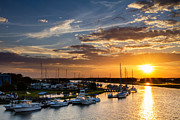 Fishing Creek Prints - Sunset Over Tiger Point Marina Print by Dawna  Moore Photography