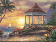 Kinkade Painting Posters - Sunset Overlook Poster by Chuck Pinson