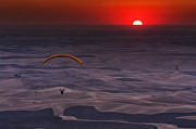 Air Born Prints - Sunset Paragliding Print by Mark Kiver