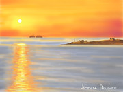 Sunset Seascape Digital Art Prints - Sunset Parikia Print by Veronica Minozzi