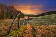 Tn Posters - Sunset Pastures Poster by Debra and Dave Vanderlaan