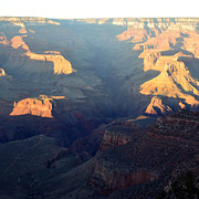 Beauty In Nature Photo Prints - Sunset Peaks and Shadows over Grand Canyon Gorge Square Print by Shawn OBrien