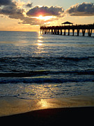 Kite Surfing Metal Prints - Sunset Pier Metal Print by Carey Chen