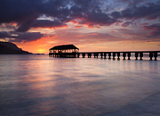 Hawaii Sunset Posters - Sunset Pier Poster by Mike  Dawson