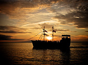 Pirate Ship Prints - Sunset Pirate Cruise Print by Mark Miller