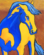 Expressionist Horse Framed Prints - Sunset Pony Framed Print by Dennis Jones