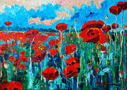 Vivid Colour Painting Posters - Sunset Poppies Poster by Ana Maria Edulescu