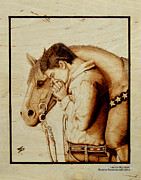 Mustang Pyrography Prints - Sunset Prayer Print by Laurisa Borlovan