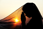 Indian Girl Photos - Sunset Prayers by Tim Gainey
