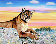 Puma Paintings - Sunset Puma by Phyllis Kaltenbach