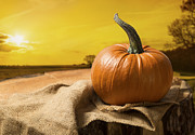 Jack O Lantern Photos - Sunset Pumpkin by Christopher and Amanda Elwell