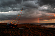 Calming The Storm Prints - Sunset Rainbow-Lytham Print by John Collier