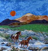 Horses Tapestries - Textiles - Sunset Ramble by Maureen Wartski